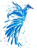 Mythische blauwe vogel op wit royalty-vrije illustratie