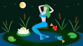 Mythische Charaktermeerjungfrau sitzt in einem Teich Stockfotografie