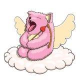 Mythischer gähnender Amor rosa Cat Tired auf der Wolke mit Amor-Pfeil und Bogen auf weißem Hintergrund lizenzfreie abbildung
