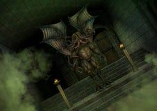 Mythisches Cthulhu-Monster, das in einem alten Tempel steht Lizenzfreie Stockfotografie