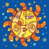 Mythisches Sonnezeichen mit einem menschlichen Gesicht lizenzfreie abbildung