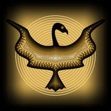 Mythologic ornamental bird silhouette, tribal symmetric drawing on black background with gold curves Stock Images