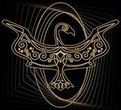 Mythologic ornamental bird silhouette, tribal symmetric drawing on black background with gold curves Stock Image