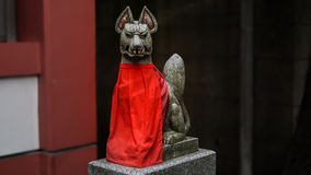 Mythological animal statue. In Japan, Mythical animal protection temple stock photo