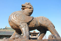 Mythological beast. The iron mythological beast of Yuci Old Town in Shanxi, China. Yuci Old Town was built in the ancient Chinese Sui Dynasty. Now it is a Royalty Free Stock Photo