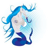 Mythological being blue. Imaginary mythological being, no gradients used Royalty Free Stock Photos