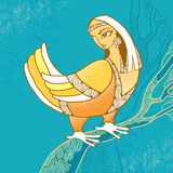 Mythological Bird with head of woman sitting on the branch. The series of mythological creatures Stock Photo