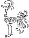 Mythological Bird Vector Illustration. Black and White Mythological Bird Vector Illustration eps Royalty Free Stock Photos