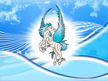 The mythological blue Pegasus. An illustration of the mythological blue horse Pegasus rearing up on its hid legs Royalty Free Stock Photo