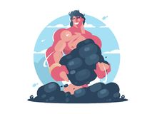 Mythological character of Hercules. Strong muscular guy. Vector flat illustration Stock Illustration