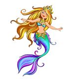 Mythological character of mermaid. Vector mythological character of the beautiful mermaid princess in turquoise clothes with ornaments. Fairy-tale girl in the Stock Photos