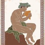 Mythological creature Satir. Mythological creature Satyr sits and holds a musical instrument. Vector image on a beige background stock illustration