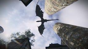 Mythological dragon flying over a medieval village. View from below of a mythological dragon flying over a medieval village royalty free illustration