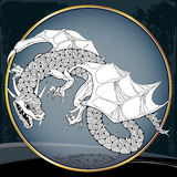 Mythological Dragon in the round frame. The series of mythological creatures Royalty Free Stock Photography