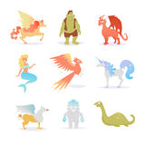 Mythological and fairy creatures. Pegasus, Troll, dragon, unicorn, Phoenix, mermaid, Griffin, bigfoot, Loch ness monster Isolated art on white background Royalty Free Stock Photography