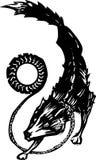 Mythological Fenris Wolf. Woodcut style image of the Mythological viking Norse Fenris Wolf with sun Stock Photo