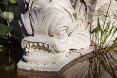 Mythological figurera av en fisk i ett damm arkivfoto
