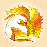 Mythological Firebird. Legendary bird with golden feathers. The series of mythological creatures. Mythological Firebird on the textured beige background Royalty Free Stock Image