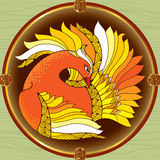 Mythological Firebird in the round frame. Legendary bird with golden feathers. The series of mythological creatures. Mythological Firebird in the round frame Royalty Free Stock Photos