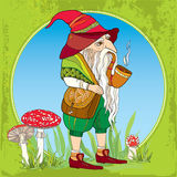 Mythological Gnome or Dwarf with tobacco pipe and a bag on the background with amanita and grass. The series of mythological creat Royalty Free Stock Photo