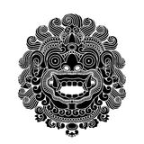 Mythological gods head, indonesian traditional art. Black silhouette,  illustration Royalty Free Stock Images