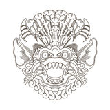 Mythological gods head, indonesian traditional art. Contour, vector illustration Royalty Free Stock Photography