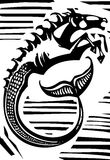 Mythological Hippocampus. Woodcut style image of Greek mythological seahorse the hippocampus Stock Image