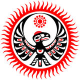 Mythological image eagle and sun. In the style of North American Indians vector illustration