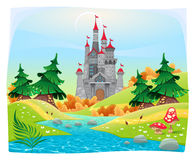 Mythological landscape with medieval castle. Cartoon and vector illustration Stock Photos