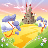 Mythological landscape with medieval castle. Royalty Free Stock Photos