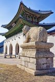 Mythological lion Haechi statue near the Gyeongbokgung Palace in Seoul Stock Image