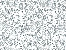 Mythological magic beast Basilisk, legendary bizarre creature. S. Eamless pattern design in medieval style. Dragon, burning flame. Repetition background stock illustration