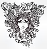 Mythological Medusa portriat illustration. Royalty Free Stock Photography