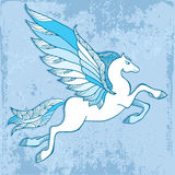 Mythological Pegasus on a blue background. The series of mythological creatures Royalty Free Stock Photos