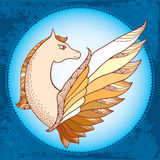 Mythological Pegasus in the round frame. The series of mythological creatures Royalty Free Stock Image