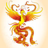 Mythological Phoenix or Phenix on the beige background. Legendary bird that is cyclically reborn. Stock Photo