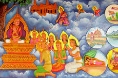 Mythological picture on the wall of asian temple Stock Images