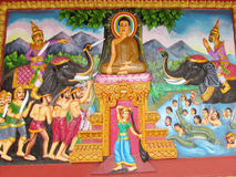 Mythological picture on the wall of asian temple Royalty Free Stock Photo