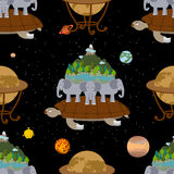 Mythological planet earth Seamless Pattern. Old Map background. Stock Photos