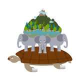 Mythological planet earth. turtle carrying elephants. Ancient re Royalty Free Stock Images