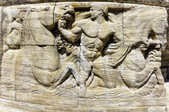 Mythological relief in the Sprudelhof of Bad Nauheim, Germany Stock Images