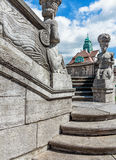 Mythological sculptures at fountain Sprudelhof in Bad Nauheim, Germany Royalty Free Stock Photography