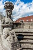 Mythological sculptures at fountain Sprudelhof in Bad Nauheim, Germany Royalty Free Stock Photos