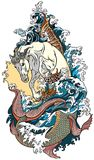 Mythological sea horse hippocampus. Or hippocamp. Tattoo vector illustration Stock Photos