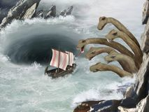 Mythologie grecque - Scylla et Charybdis - voyage d'Ulysse illustration stock