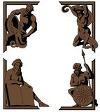 Mythologisch hoekornament Stock Illustratie