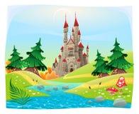 Mythologisch landschap met middeleeuws kasteel. Royalty-vrije Stock Afbeeldingen
