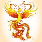 Mythologisch Phoenix of Phenix op de beige achtergrond Legendarische vogel die cyclisch herboren is Stock Foto