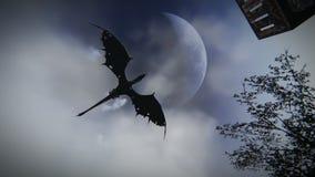 Mythologische draak die over een middeleeuwse dorpslengte vliegen