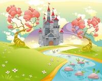 Mythologische Landschaft mit mittelalterlichem Schloss. Stockbild